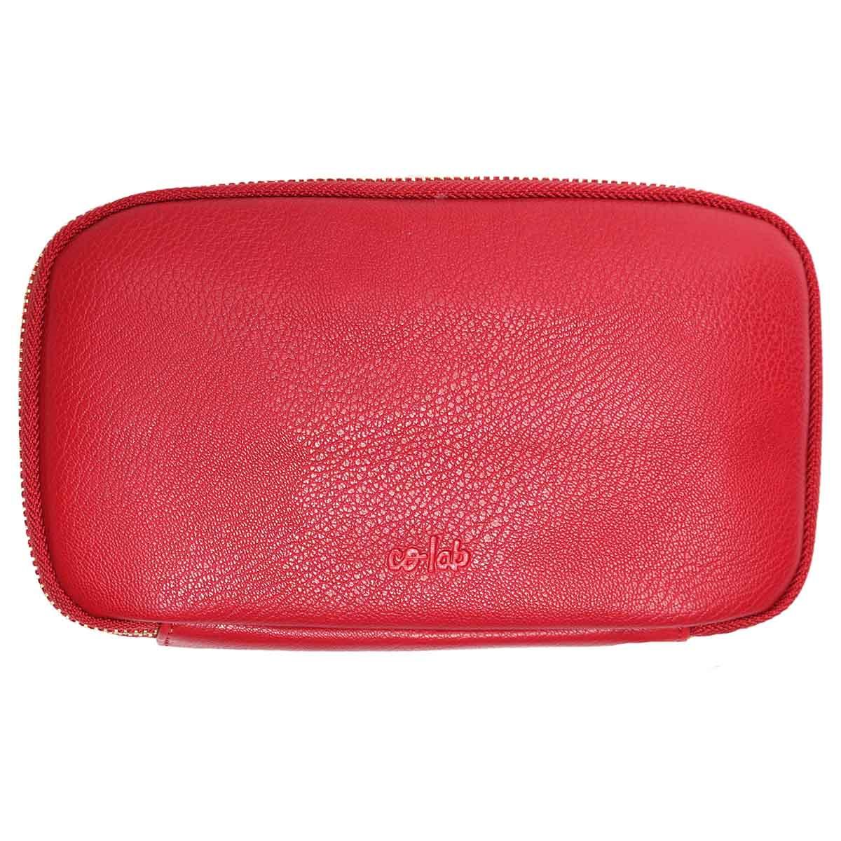 Zip Around red pebble wallet
