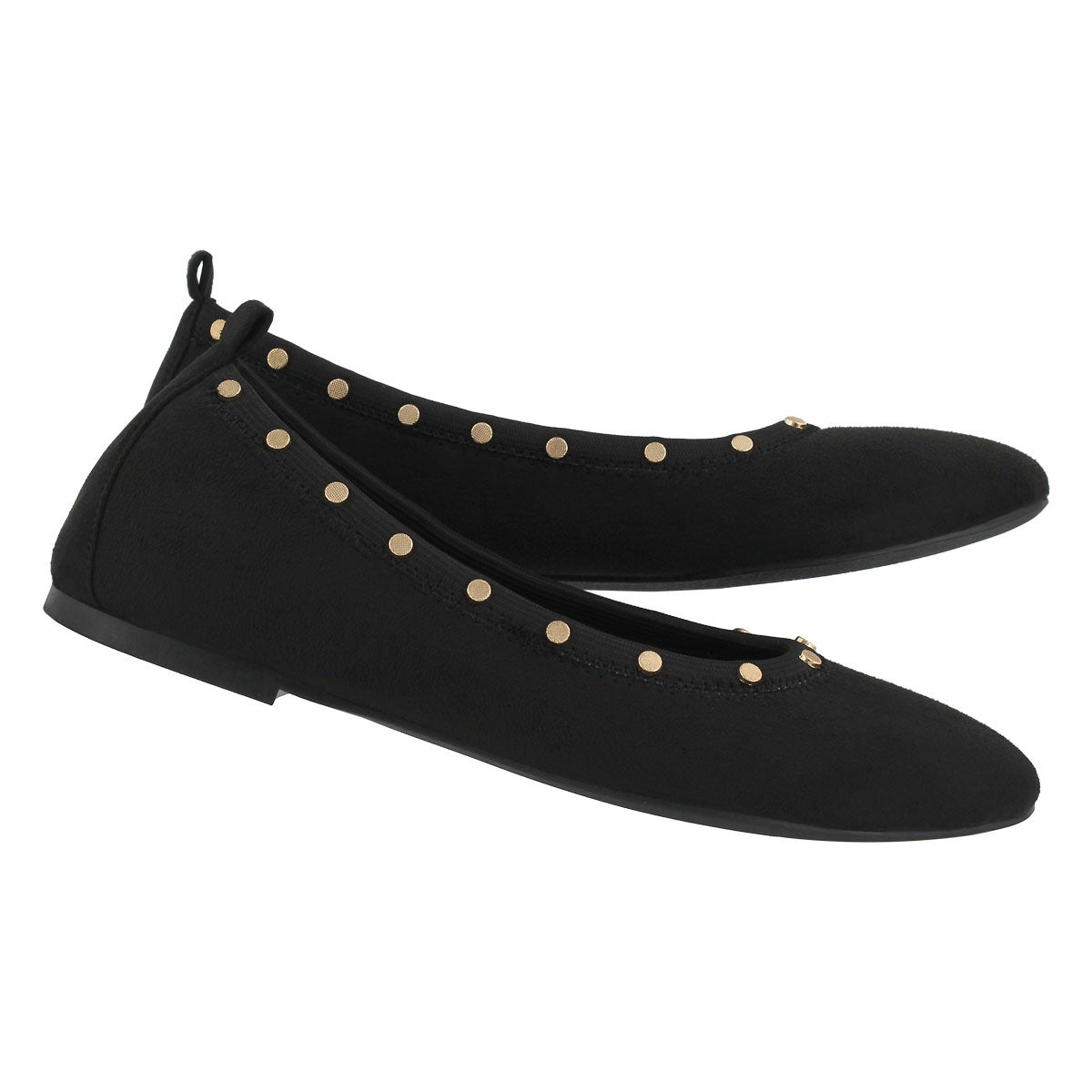 Lds Cleo black studded casual flat