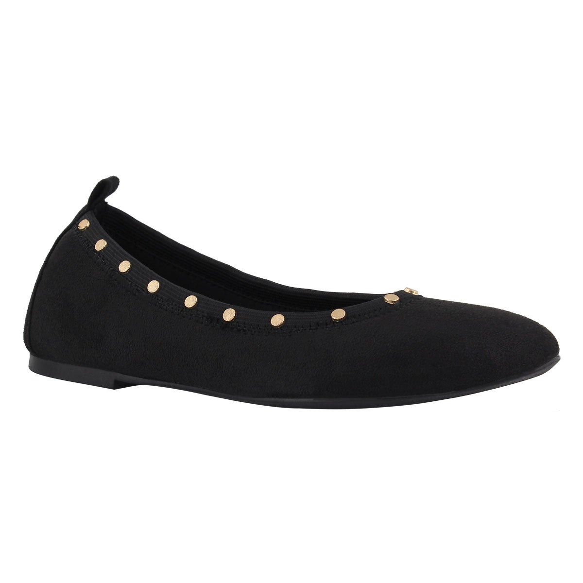 Lds Cleo Regent blk studded casual flat
