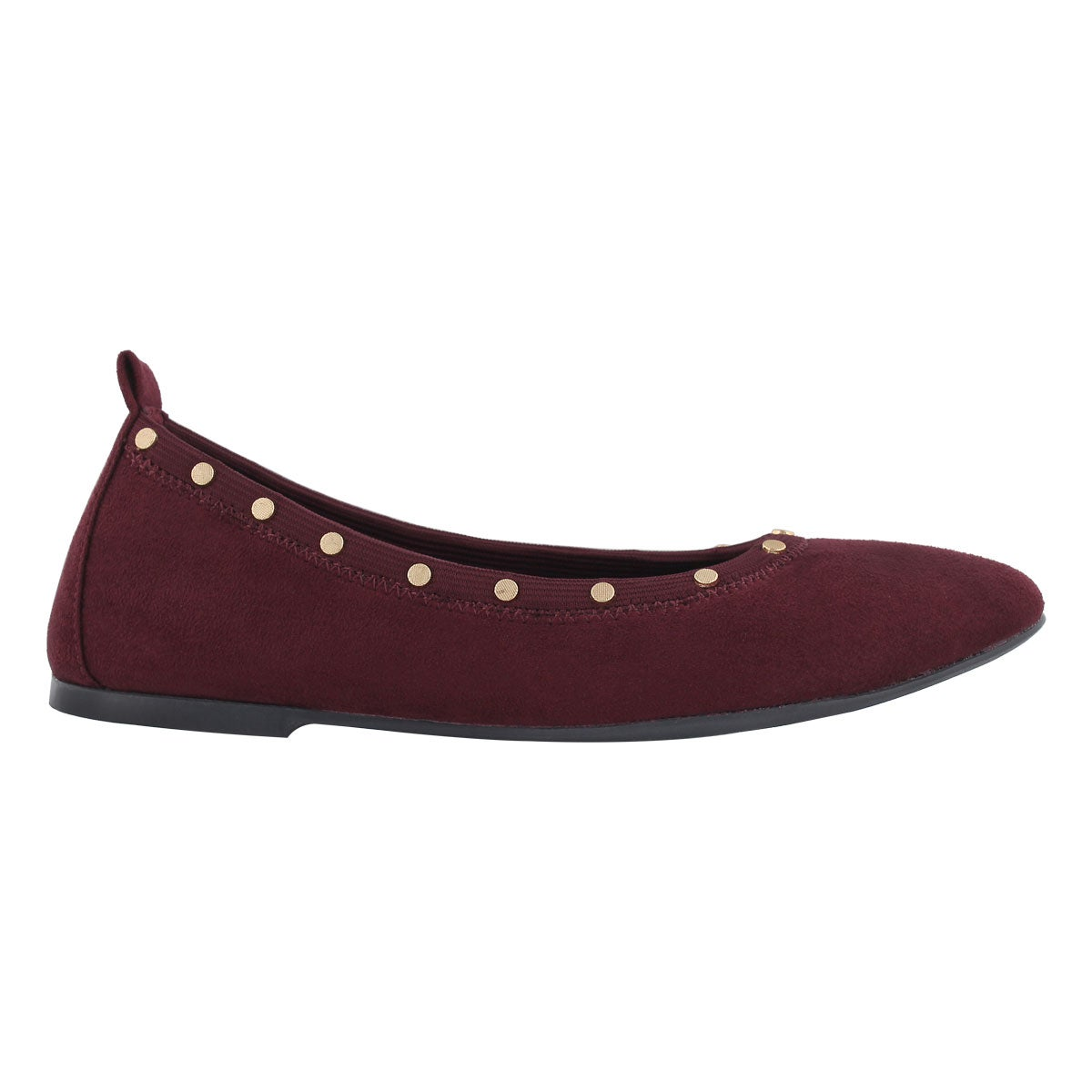 Lds Cleo burgundy studded casual flat