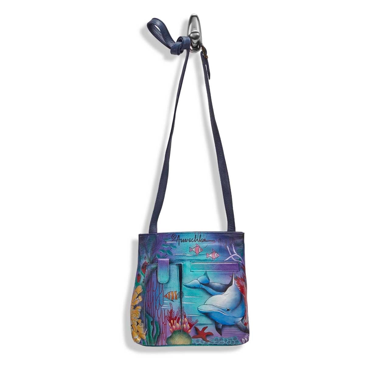 Painted lthr Dolphin World crossbody