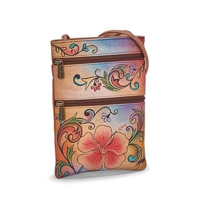 Painted lthr Henna Floral trvl orgzr