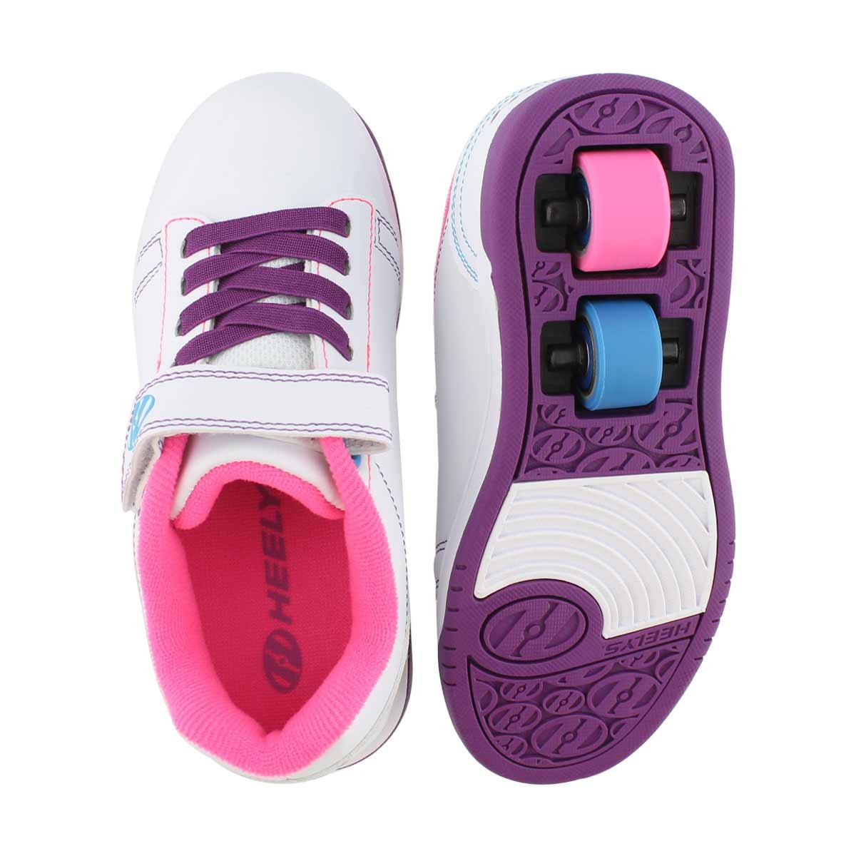 Grls Dual Up x2 wht/ppl/pk skate sneaker