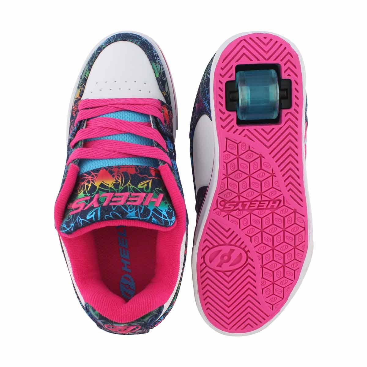 Grls Motion Plus wht/mlti skate sneaker