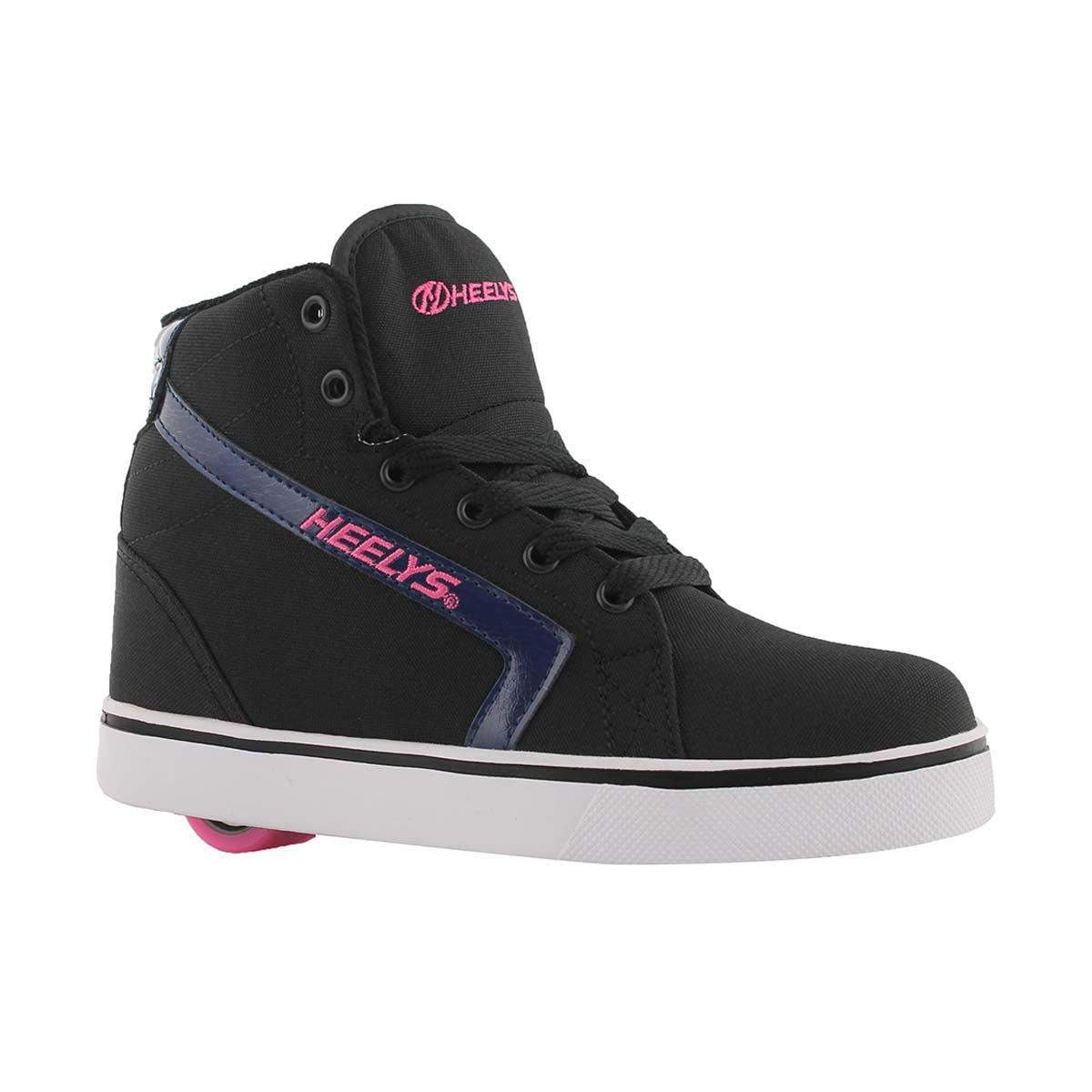 Girls' Gr8r HI black/pink skate sneakers