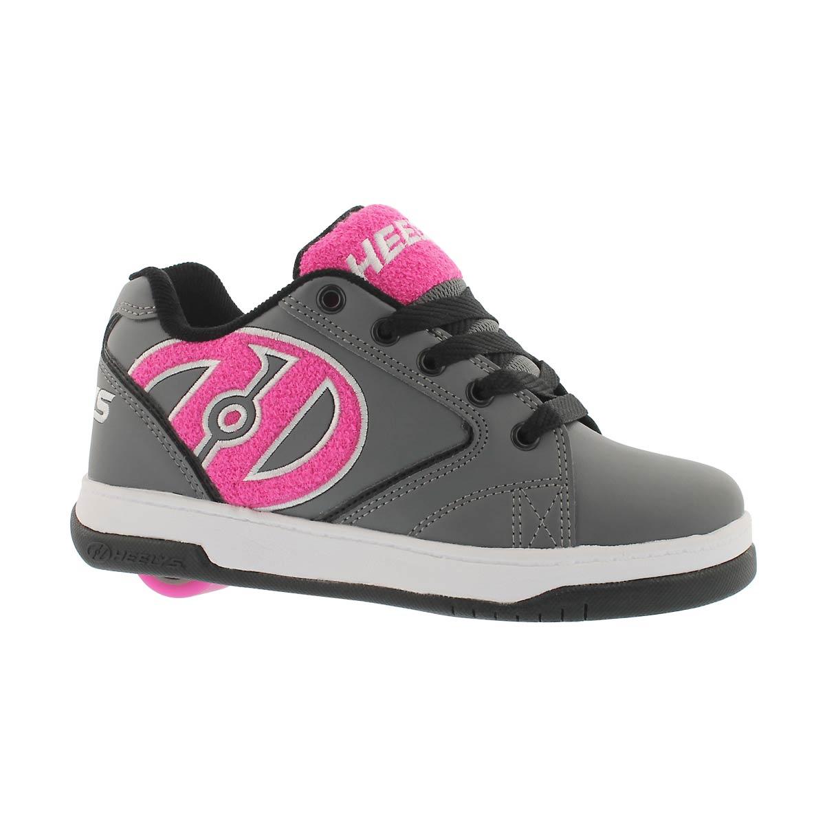 Girls' PROPEL TERRY grey/pink skate sneakers