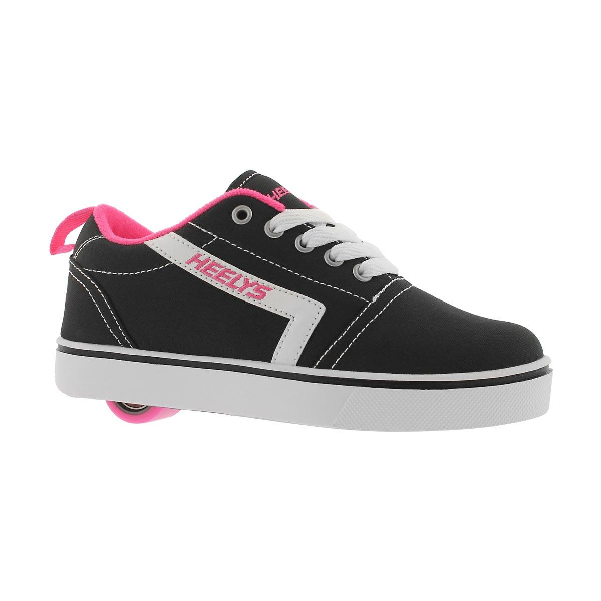 Girls' GR8 PRO black/white/pink skate sneakers