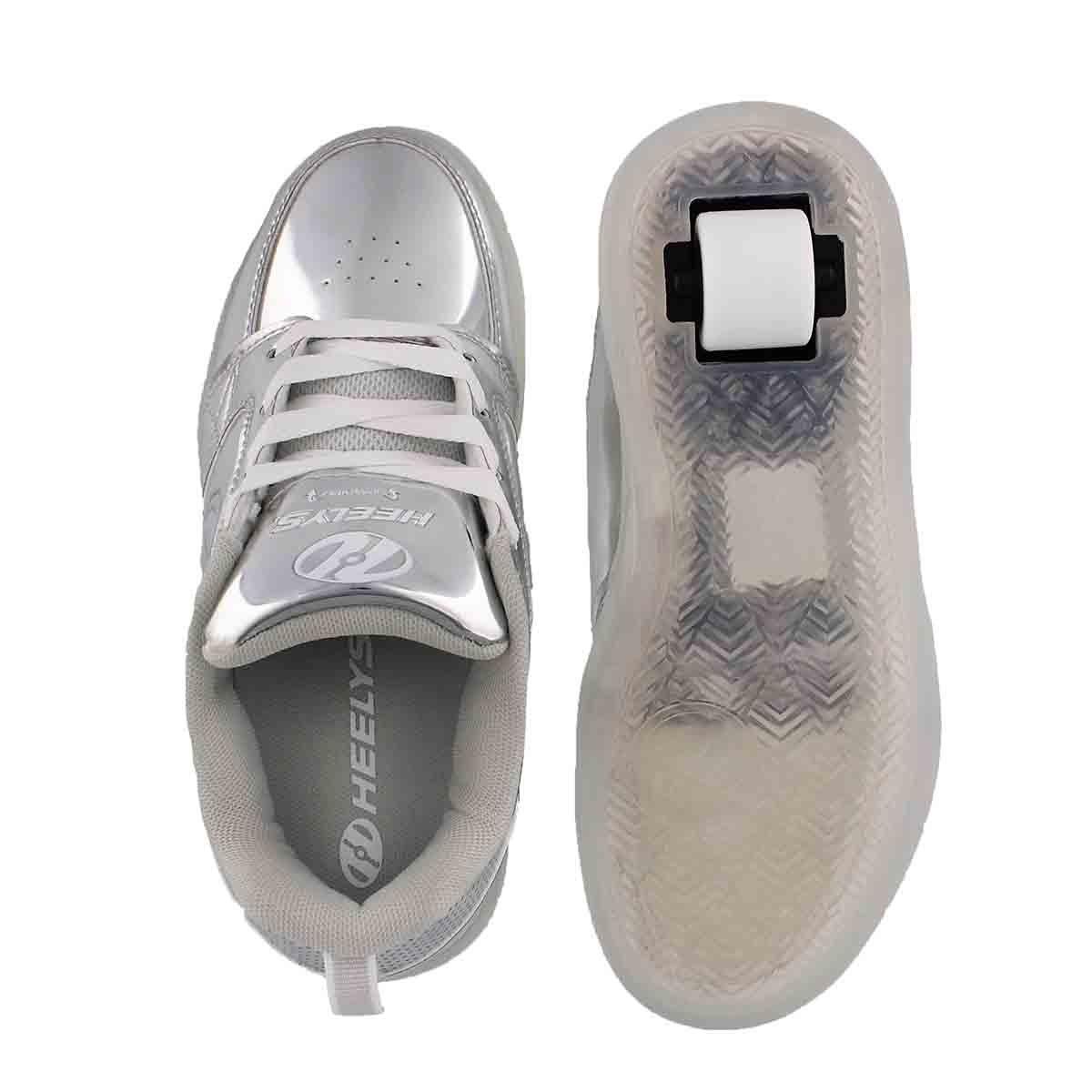Kds Premium1 Lo slvr light up skate snkr