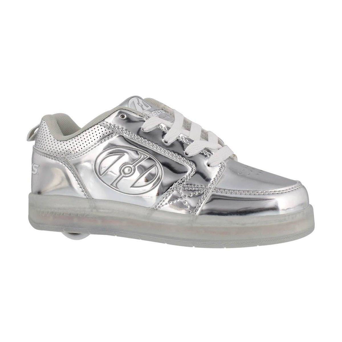 Kids' PREMIUM 1 LO silver light up skate sneakers