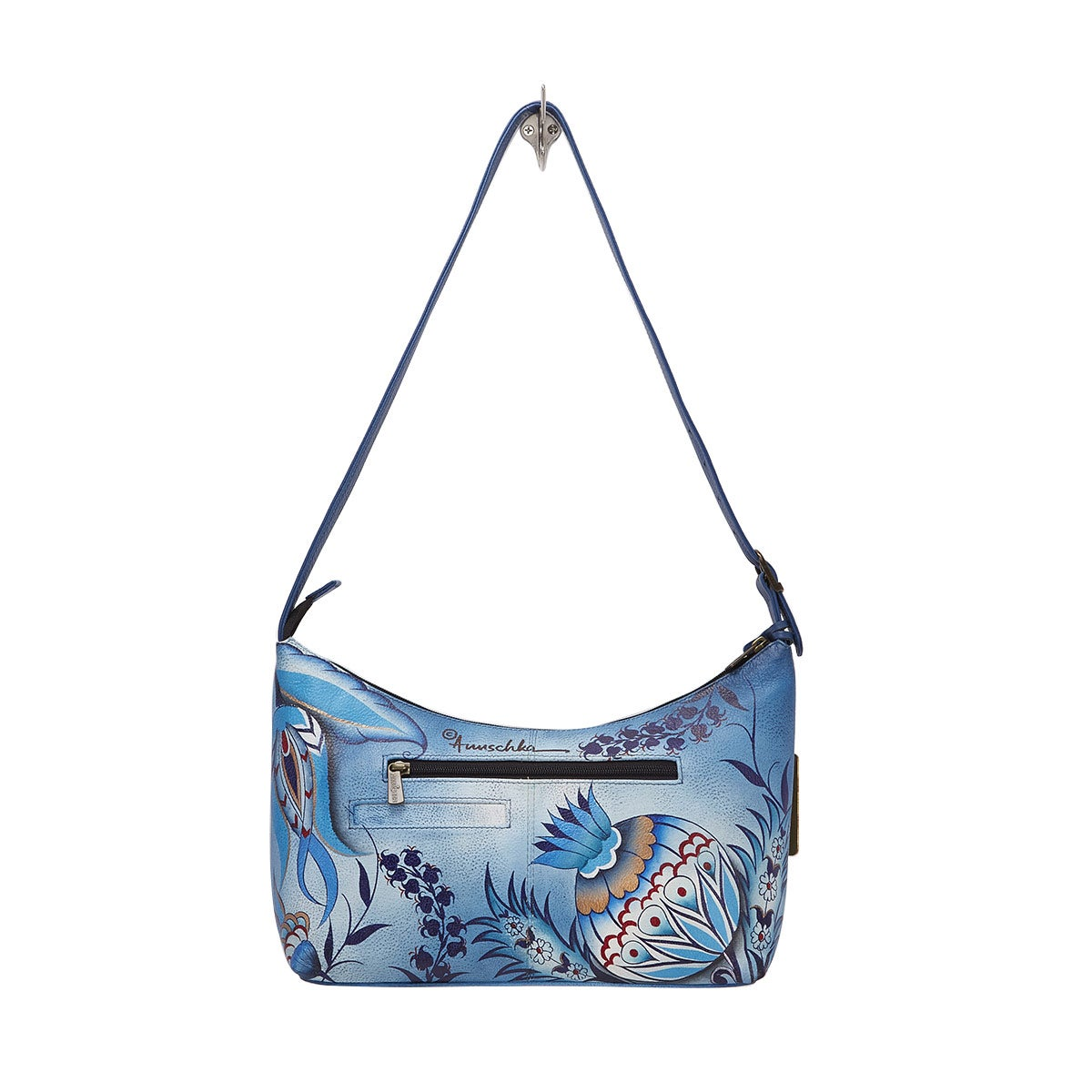 Printed lthr Bewitching Blues hobo bag
