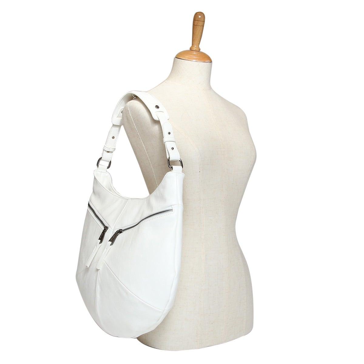 Lds Nora white top zip hobo bag