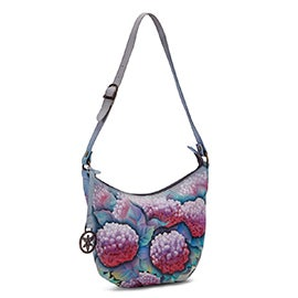 Paintd lthr Hypnotic Hydrangeas hobo bag