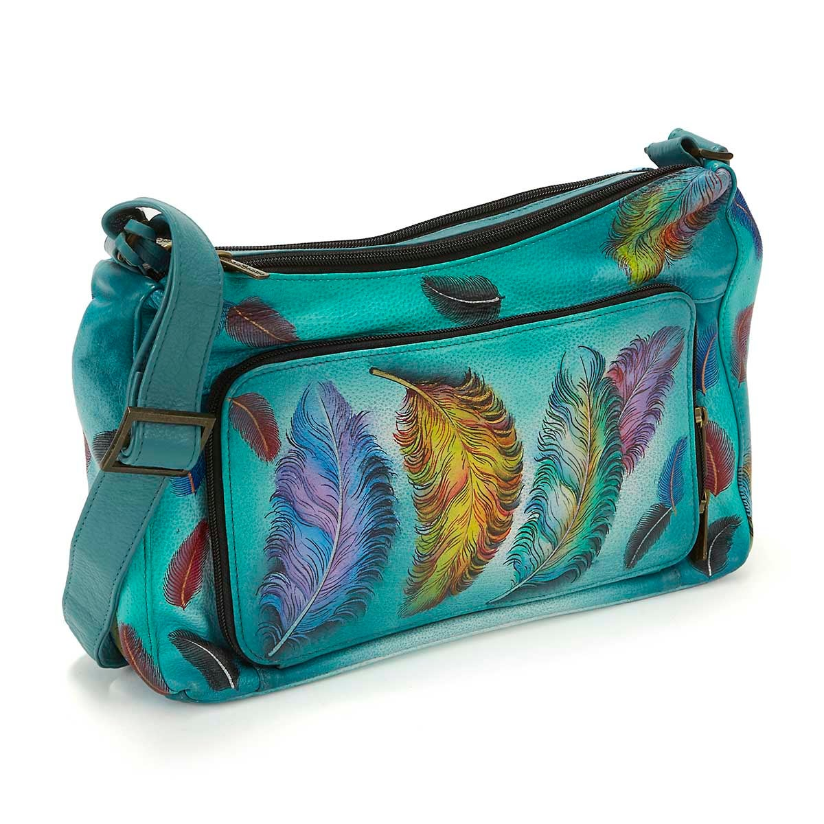 Printed lthr FloatingFeather cross body