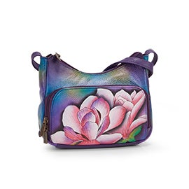 Painted lthr Magnolia Melody crossbody