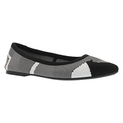 Lds Cleo Wham black/white casual flat
