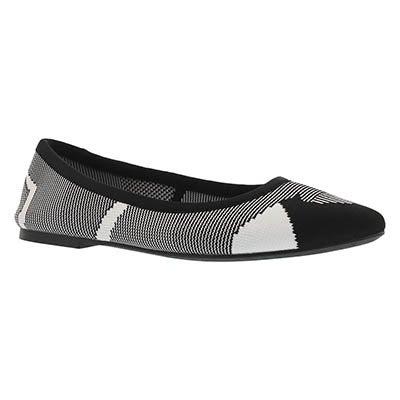 Lds Cleo Wham black/white casual flat