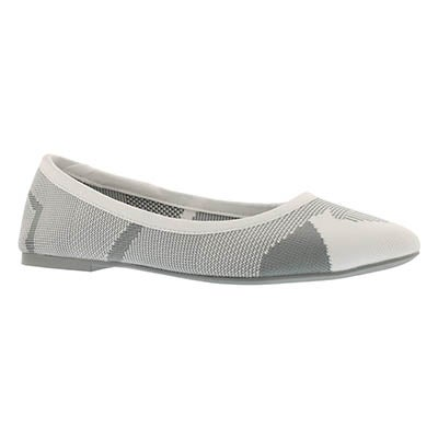 Lds Cleo Wham white/grey casual flat