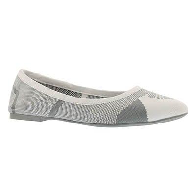 Lds Cleo Wham white/grey casual flat