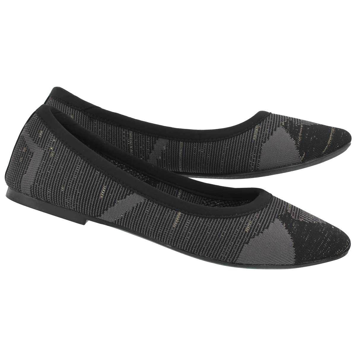 Lds Cleo Blitz black/grey casual flat