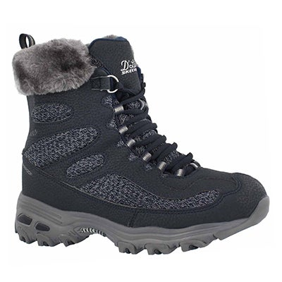 Lds D'Lites navy wp lace up winter boot