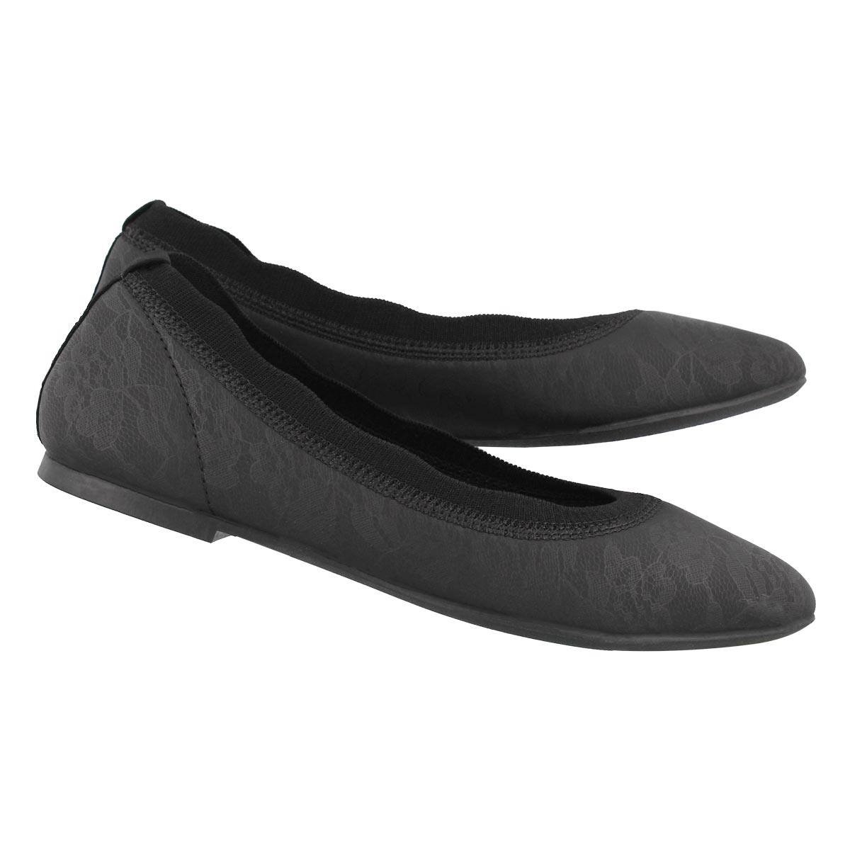 Lds Cleo Lace Place blk casual flat