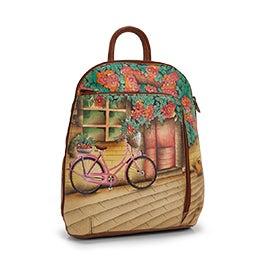 Painted leather Vintage Bike backpack