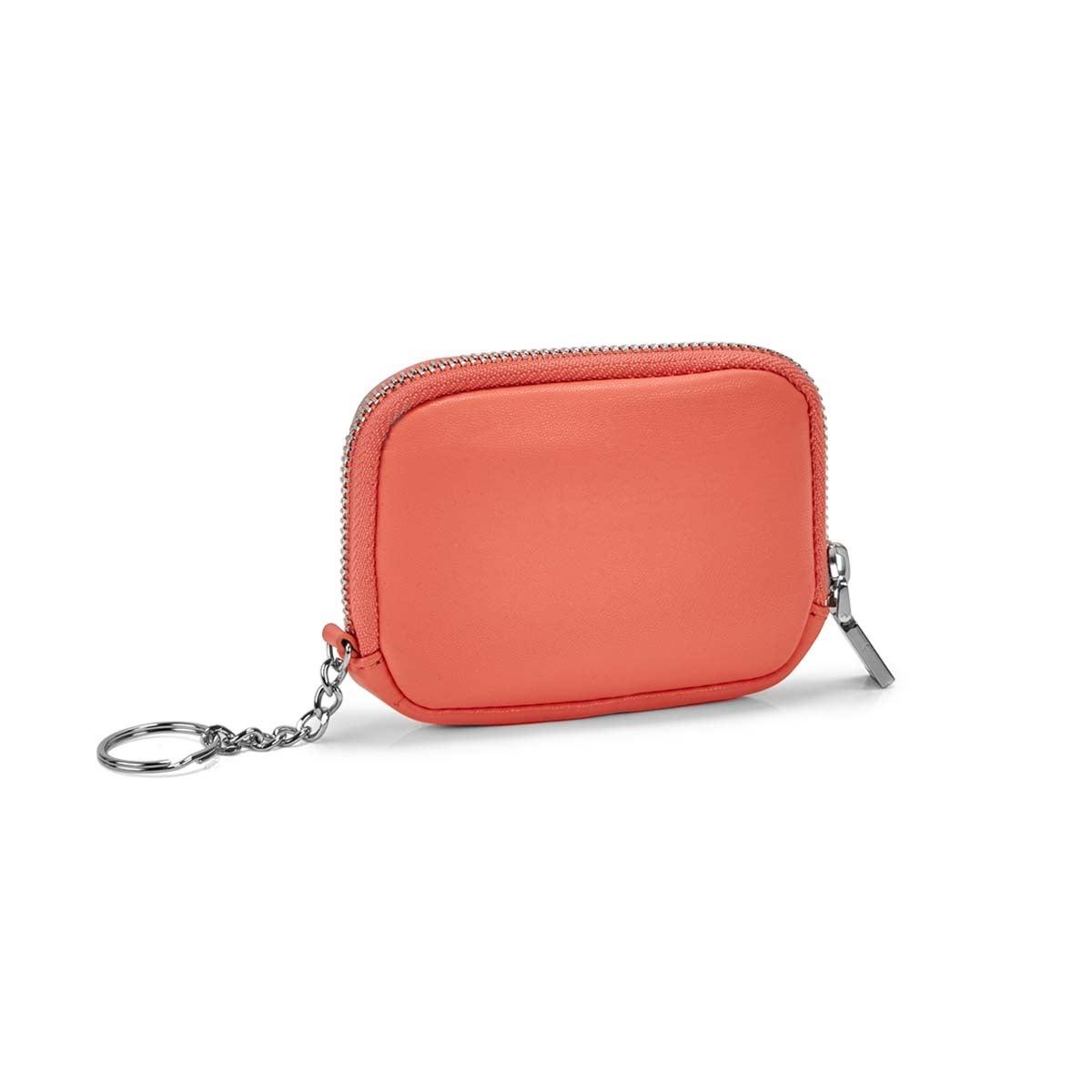 Women's coral zip up wallet