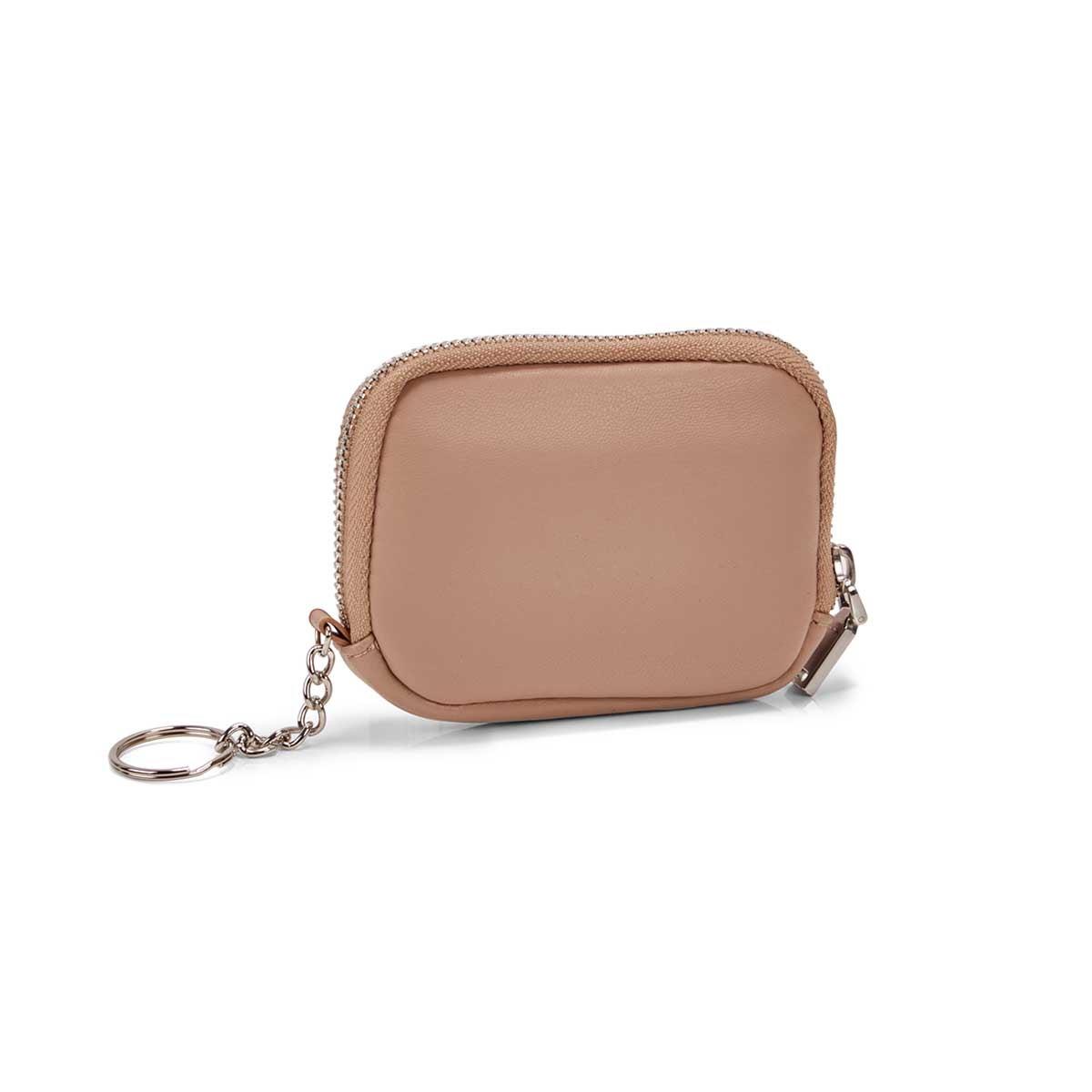 Women's beige zip up wallet