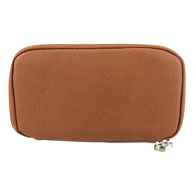 Co-Lab Women's DOUBLE ZIP WORLD cognac wallets