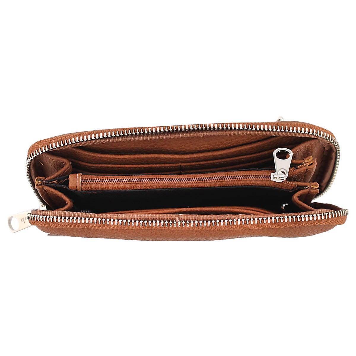 Lds Double Zip World cognac wallet