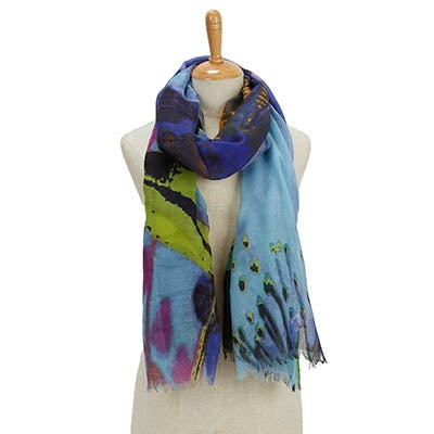 Fraas Women's PARADISE LOST EXPLODED FLORAL turq scarves