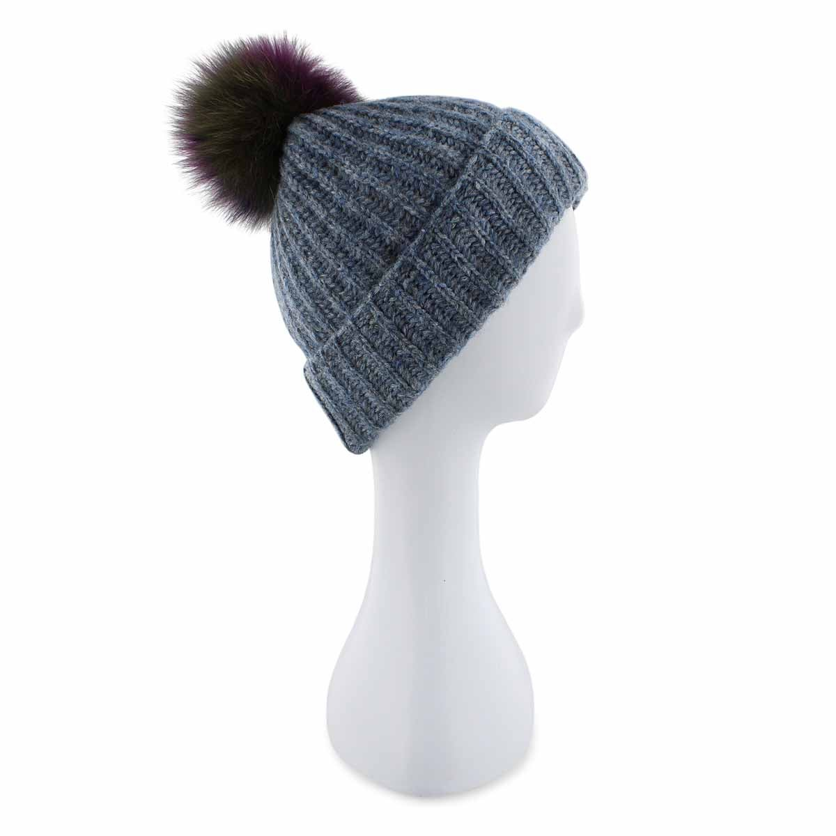 Lds Multi Fur Pom denim melange toque