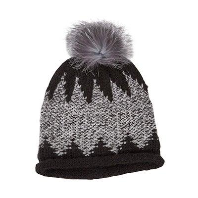 Fraas Women's CHUNKY ZIG ZAG FUR POM black hats