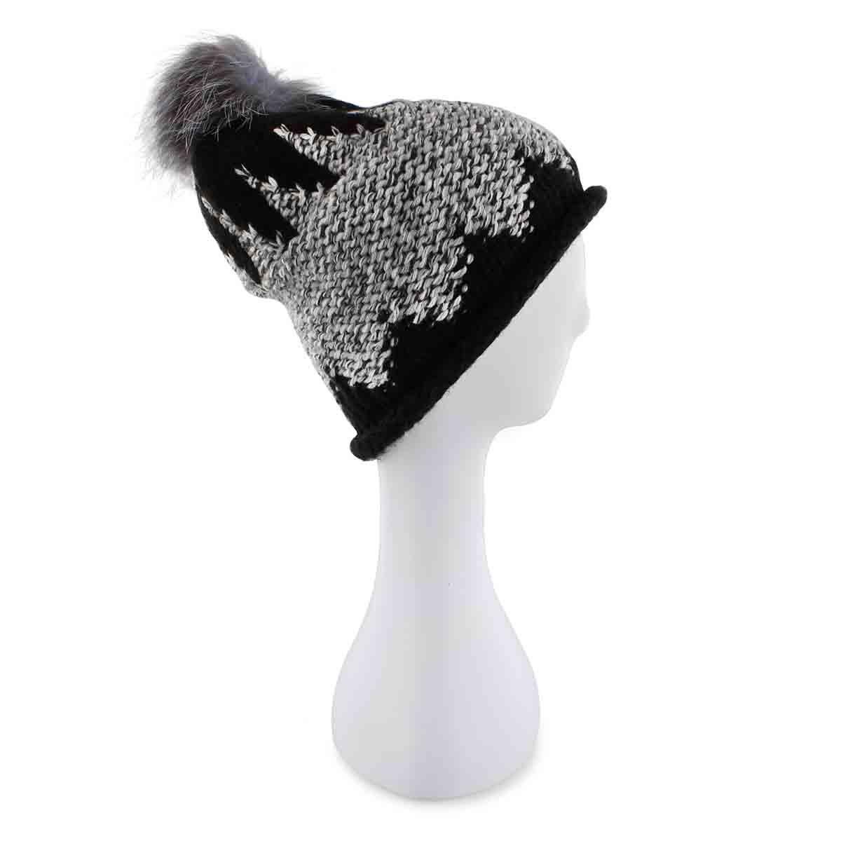 Lds Chunky Zig Zag Fur Pom black hat