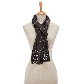Lds Grid Plaid w/ Pearls black scarf