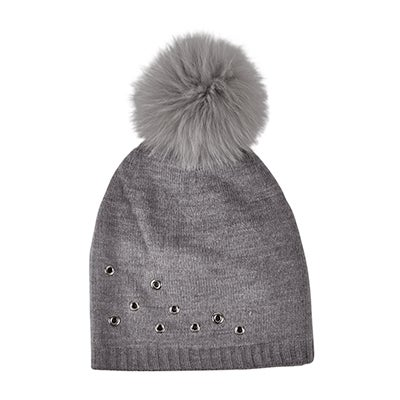 Fraas Women's FUR POM w/ GROMMETS mid grey hats