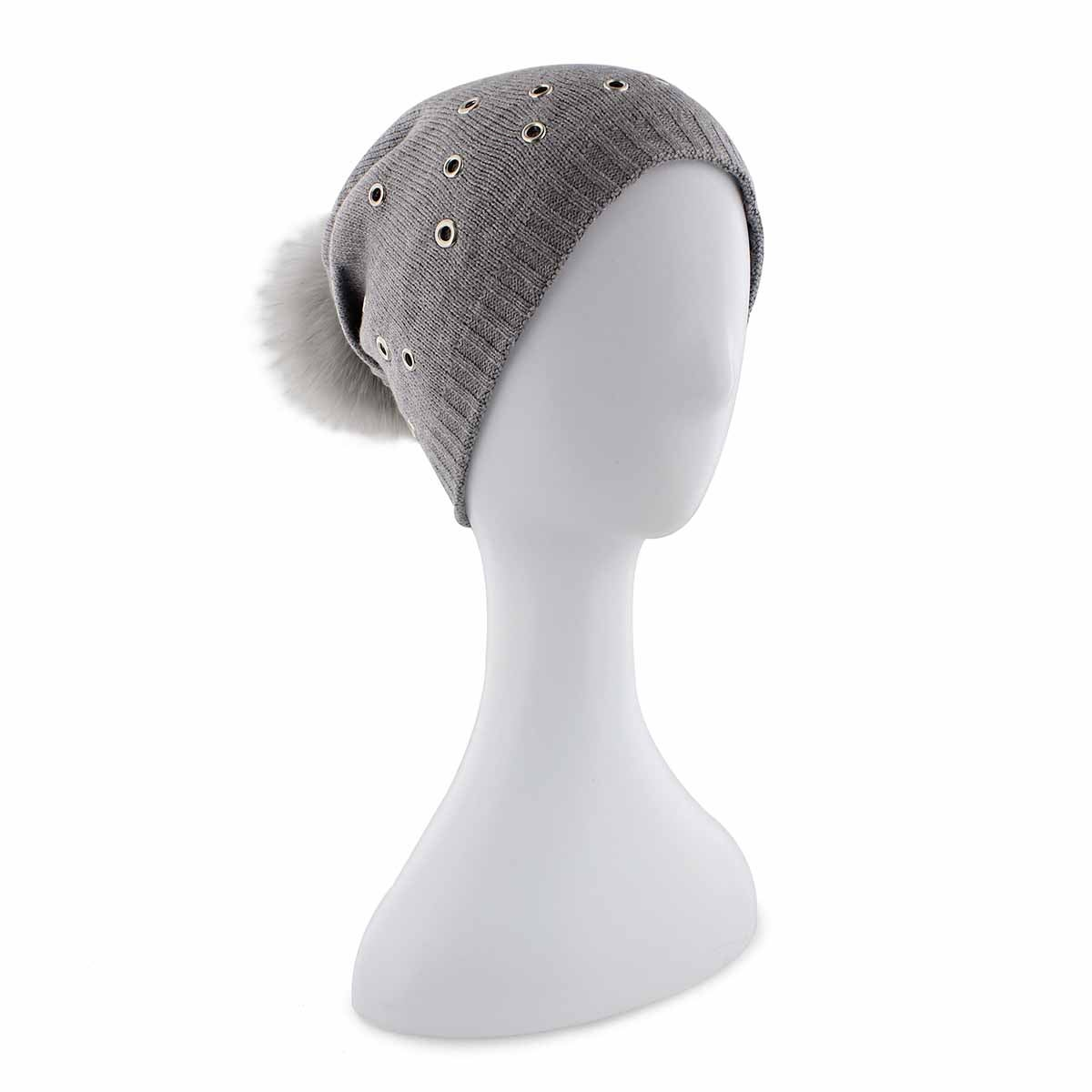 Lds Fur Pom w/ Grommets mid grey hat