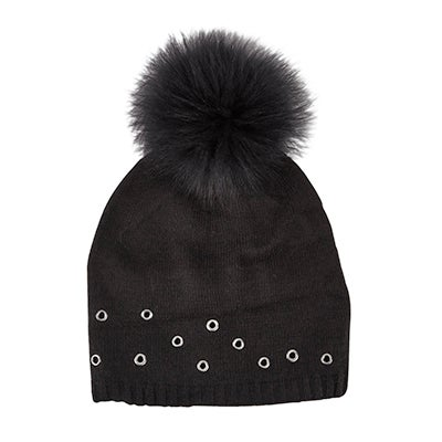 Fraas Women's FUR POM w/GROMMETS black hats