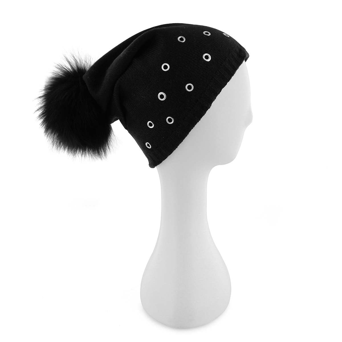 Lds Fur Pom w/ Grommets black hat