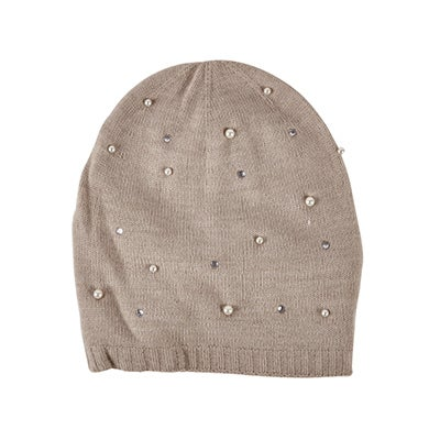 Fraas Women's EMBELLISHED HAT w/ PEARLS beige hats