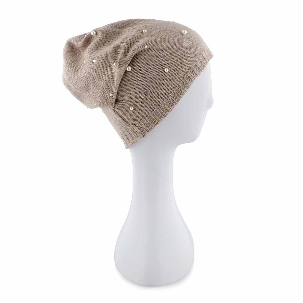 Tuque Embellished Hat w Pearls,beige,fem
