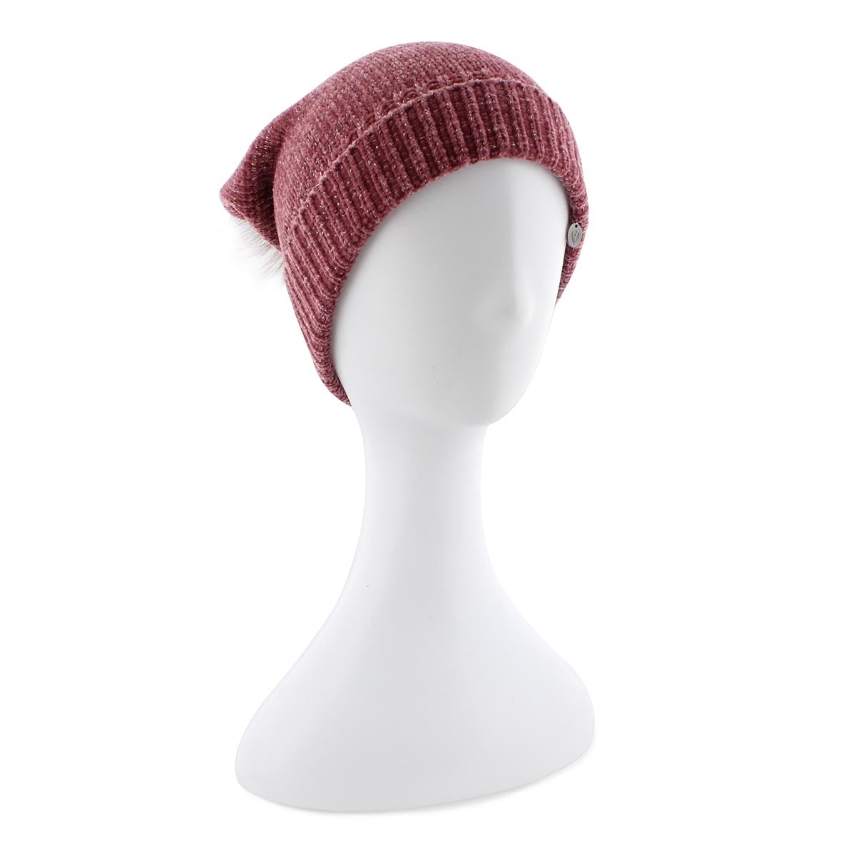 Lds Chenille Metallic Fur Pom plum hat