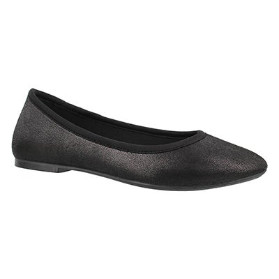 Lds Cleo black metallic casual flat