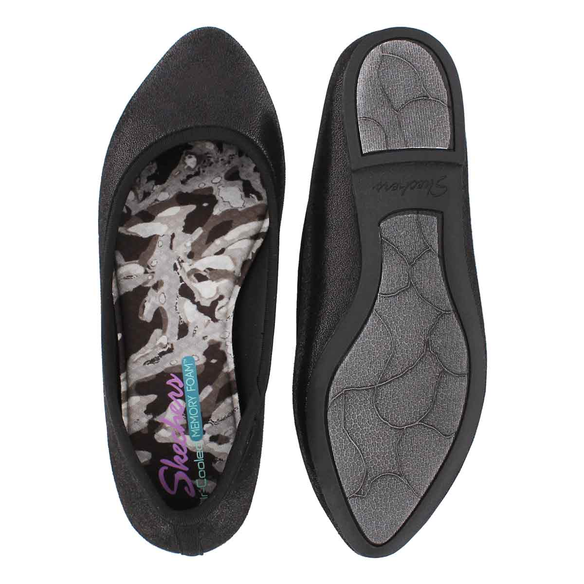 Lds Cleo Dazzles blk mtlc casual flat