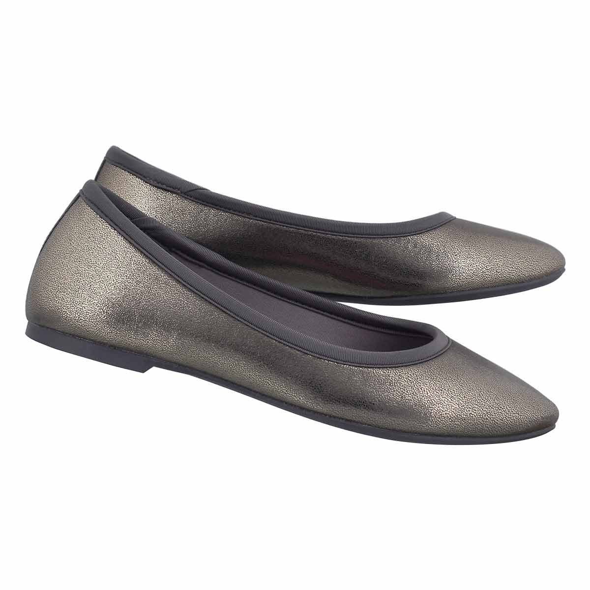 Lds Cleo charcoal metallic casual flat