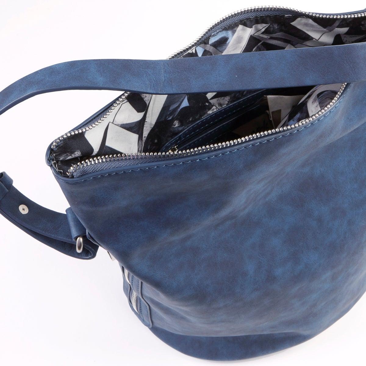 Lds 4984 blue bucket hobo bag