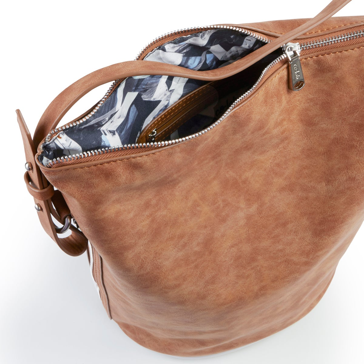 Lds 4984 cognac bucket hobo bag