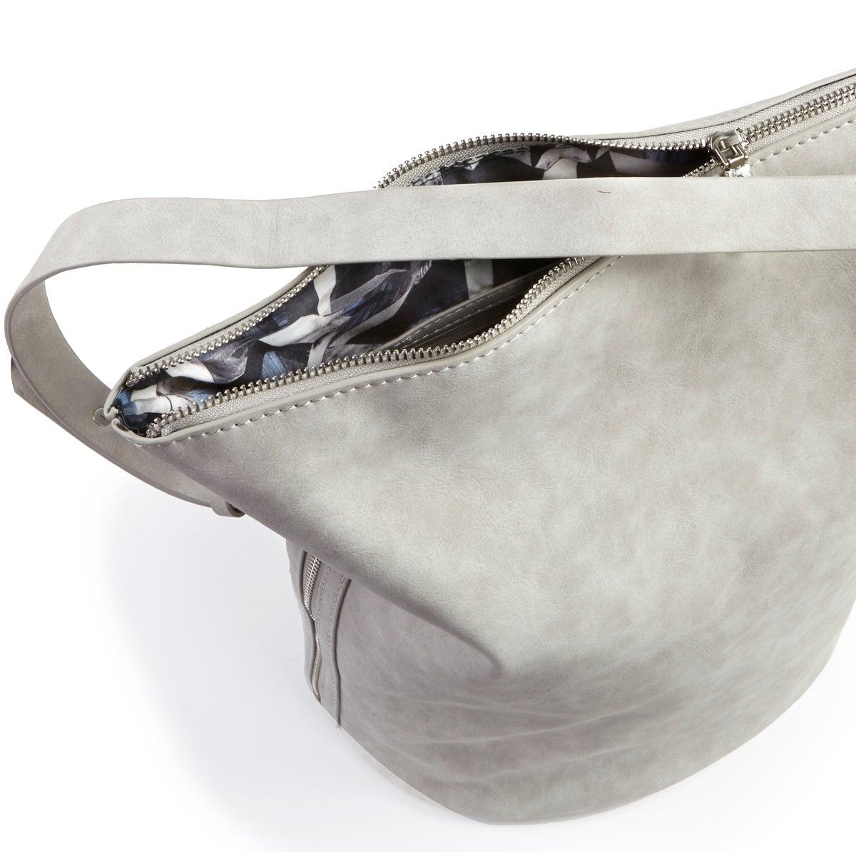 Lds 4984 lt grey bucket hobo bag