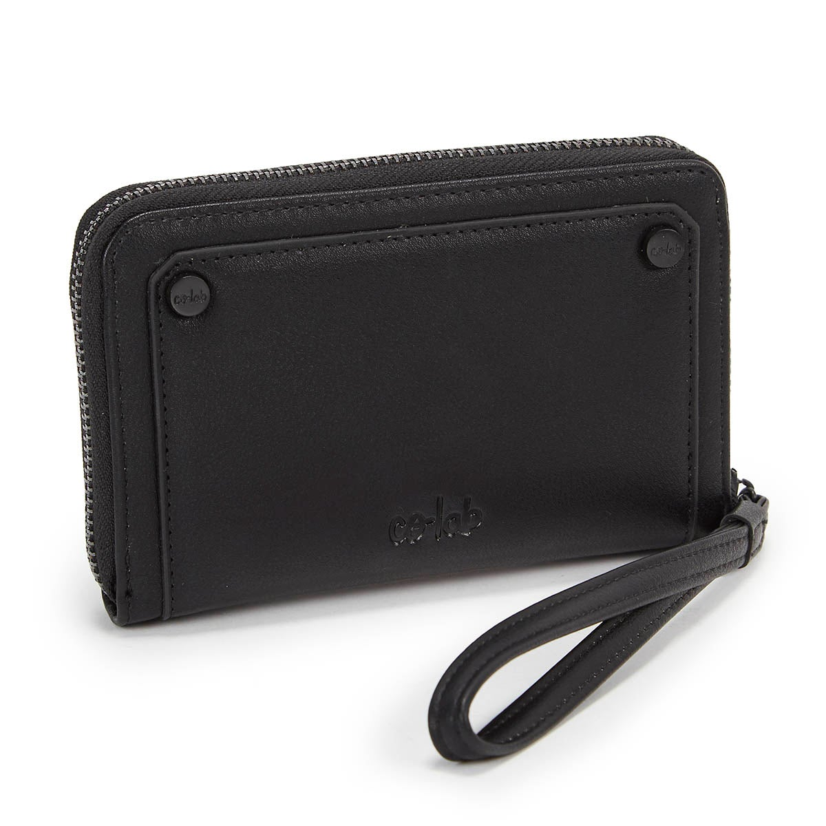 Lds black zip up mini wallet
