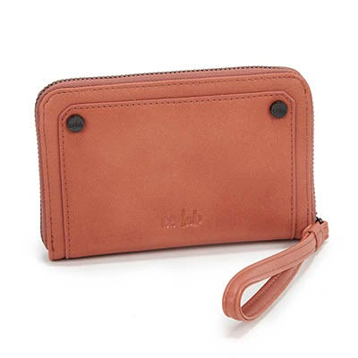 Co-Lab Women's 4993 cognac zip up mini wallet